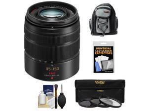 Panasonic Lumix G Vario 45-150mm f/4.0-5.6 OIS Lens for G Series Cameras (Black) with 3 (UV/CPL/ND8) Filters + Backpack Case + Accessory Kit