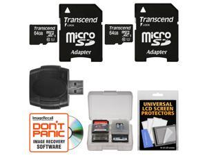 Transcend 64GB microSDXC 300x UHS-1 Class 10 Memory Card with Adapter (2 PACK) + Reader & Case Kit