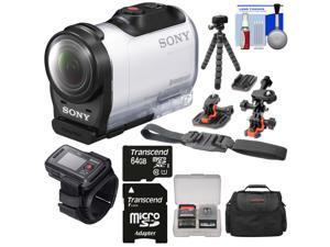 Sony Action Cam HDR-AZ1 Mini HD Video Camera Camcorder & Live View Remote with 64GB Card + 2 Helmet & Flat Surface Mounts + Case + Flex Tripod + Kit