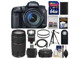 Canon EOS 7D Mark II GPS Digital SLR Camera & EF-S 18-135mm IS STM Lens with 75-300mm III Lens + 64GB Card + Case + Flash + Battery + Tripod + Kit