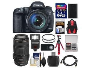 Canon EOS 7D Mark II GPS Digital SLR Camera & EF-S 18-135mm IS STM Lens with 70-300mm IS USM Lens + 64GB Card + Backpack + Flash + Battery + Tripod + Kit