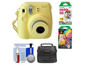 Fujifilm Instax Mini 8 Instant Film Camera (Yellow) with Instant Film & Rainbow Film + Case + Cleaning Kit