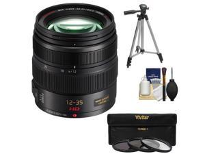 Panasonic Lumix G X Vario 12-35mm f/2.8 OIS Lens for G Series Cameras (Black) with 3 (UV/CPL/ND8) Filters + Tripod + Accessory Kit