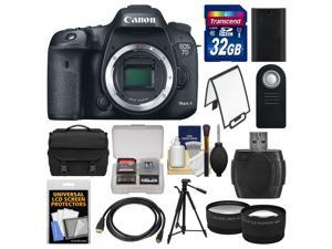 Canon EOS 7D Mark II GPS Digital SLR Camera Body with 32GB Card + Case + Battery + Tripod + Remote + Tele/Wide Lens Kit