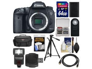 Canon EOS 7D Mark II GPS Digital SLR Camera Body with 64GB Card + Case + Flash + Battery + Tripod + Remote + Kit