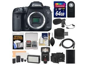 Canon EOS 7D Mark II GPS Digital SLR Camera Body with 64GB Card + Case + Flash + Battery + Remote + Video Light + Microphone + ...