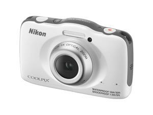 Nikon Coolpix S32 Shock & Waterproof Digital Camera (White) - Factory Refurbished includes Full 1 Year Warranty