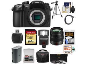 Panasonic Lumix DMC-GH4 4K Micro Four Thirds Digital Camera Body with 12-35mm f/2.8 Lens + 64GB Card + Battery + Case + Tripod + Flash + Filters Kit