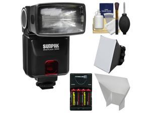 Sunpak DigiFlash 3000 Electronic Flash Unit (for Canon EOS E-TTL II) with Batteries & Charger + Soft Box + Bounce Reflector + Kit