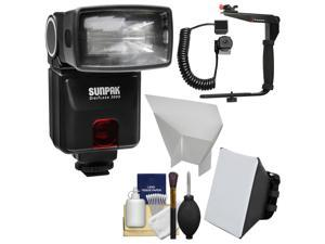 Sunpak DigiFlash 3000 Electronic Flash Unit (for Canon EOS E-TTL II) with Flash Bracket & Cord + Soft Box + Bounce Reflector + Kit