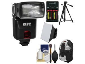 Sunpak DigiFlash 3000 Electronic Flash Unit (for Canon EOS E-TTL II) with Backpack + Batteries & Charger + Tripod + Soft Box + Kit