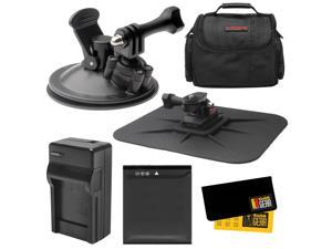 Essentials Bundle for Kodak PixPro SP360 & SP1 Action Camera with Car Suction Cup & Dashboard Mounts + LB-080 Battery + Charger + Case + Kit