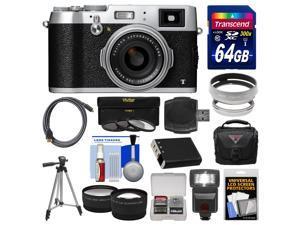 Fujifilm X100T Digital Camera (Silver) with 64GB Card + Case + Flash + Battery + Tripod + Tele/Wide Lenses Kit