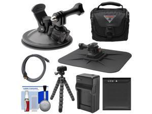 Essentials Bundle for Kodak PixPro SP360 & SP1 Action Camera with Suction Cup & Dash Mounts + LB-080 Battery & Charger + Case + Flex Tripod + Kit