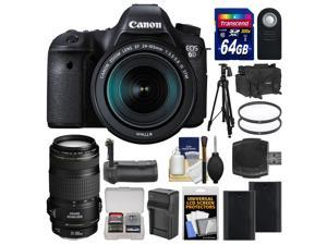 Canon EOS 6D Digital SLR Camera Body & EF 24-105mm IS STM Lens with 70-300mm IS Lens + 64GB Card + Case + 2 Batteries & Charger + Grip + Tripod Kit