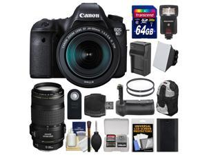 Canon EOS 6D Digital SLR Camera Body & EF 24-105mm IS STM Lens with 70-300mm IS Lens + 64GB Card + Backpack + Flash + Battery & Charger + Grip + Kit