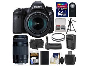 Canon EOS 6D Digital SLR Camera Body & EF 24-105mm IS STM Lens with 75-300mm III Lens + 64GB Card + Case + Battery/Charger + Grip + Tripod + Filters Kit