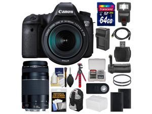 Canon EOS 6D Digital SLR Camera Body & EF 24-105mm IS STM Lens + 75-300mm III Lens + 64GB Card + Backpack + Flash + Batteries/Charger + Grip + Tripod Kit