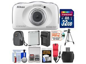 Nikon Coolpix S33 Shock & Waterproof Digital Camera (White) with 32GB Card + Battery + Charger + Case + Floating Strap + Tripod + Kit