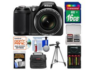 Nikon Coolpix L330 Digital Camera (Black) - Factory Refurbished with 16GB Card + Case + Batteries/Charger + Tripod + Kit