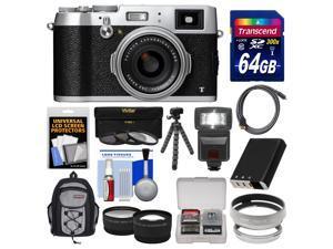 Fujifilm X100T Digital Camera (Silver) with 64GB Card + Backpack + Flash + Battery + Tripod + Tele/Wide Lenses Kit