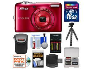 Nikon Coolpix L32 Digital Camera (Red) with 16GB Card + Case + Batteries & Charger + Flex Tripod + Kit