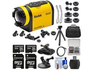Kodak PixPro SP1 Video Action Camera Camcorder - Explorer Pack with Suction Cup & Wrist Mounts + 64GBs + Case + Tripod + Kit