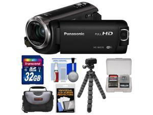 Panasonic HC-W570 Twin Recording HD Wi-Fi Video Camera Camcorder with 32GB Card + Case + Flex Tripod + Accessory Kit