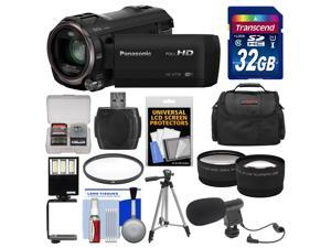 Panasonic HC-V770 Wireless Smartphone Twin Recording Wi-Fi HD Video Camera Camcorder with 32GB Card + Case + LED Light + Microphone + Tripod + Filter + Tele/Wide Lens Kit