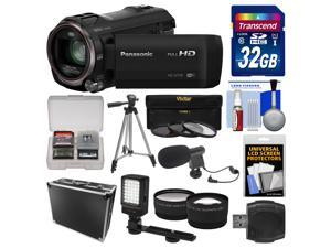 Panasonic HC-V770 Wireless Smartphone Twin Recording Wi-Fi HD Video Camera Camcorder with 32GB Card + Hard Case + LED Light + Microphone + Tripod + Tele/Wide Lens Kit