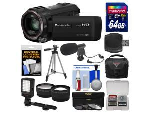 Panasonic HC-V770 Wireless Smartphone Twin Recording Wi-Fi HD Video Camera Camcorder with 64GB Card + Case + LED Light + Microphone + Tripod + Tele/Wide Lens Kit
