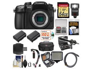Panasonic Lumix DMC-GH4 4K Micro Four Thirds Digital Camera Body with 64GB Card + Case + Flash + 2 Batteries + Microphone & LED Light + Stabilizer Kit