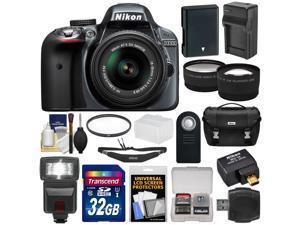 Nikon D3300 Digital SLR Camera & 18-55mm G VR DX II AF-S Zoom Lens (Grey) with WU-1a Wi-Fi Adapter + 32GB Card + Battery & Charger + Case + Flash + 2 Lens Kit