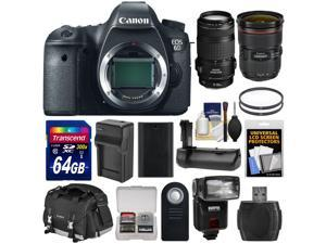 Canon EOS 6D Digital SLR Camera Body with 24-70mm f/2.8 L II & 70-300mm IS Lenses + 64GB Card + Case + Flash + Grip + Kit