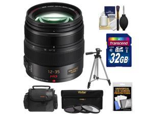 Panasonic Lumix G X Vario 12-35mm f/2.8 OIS Lens for G Series Cameras (Black) with 32GB Card + Case + 3 (UV/CPL/ND8) Filters + Tripod + Accessory Kit