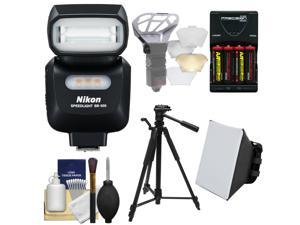 Nikon SB-500 AF Speedlight Flash & LED Video Light with Tripod + Batteries & Charger + Softbox + Reflector Kit