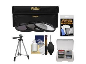 Vivitar 3-Piece Multi-Coated HD Filter Set (40.5mm UV/CPL/ND8) with Tripod + Accessory Kit