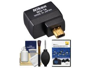 Nikon WU-1a Wireless Wi-Fi Mobile Adapter with Instructional DVD + Cleaning Kit for Coolpix A, P330, P520, P530, P7800, DF, D3200, D3300, D5200 & D7100 DSLR Camera