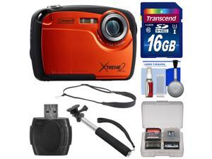 Coleman Xtreme2 C12WP Shock & Waterproof Digital Camera with HD Video (Orange) with 16GB Card + Selfie Stick Monopod + Sling Strap + Kit
