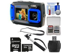 Coleman Duo 2V9WP Dual Screen Shock & Waterproof Digital Camera (Blue) with 32GB Card + Selfie Stick Monopod + Sling Strap + Kit