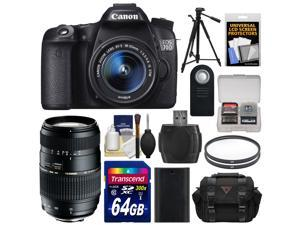 Canon EOS 70D Digital SLR Camera & EF-S 18-55mm IS STM Lens with Tamron 70-300mm Di Lens + 64GB Card + Battery + Case + Filters + Remote + Kit