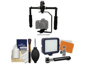 RPS Studio FloPod Digital SLR Camera Video Stabilizer Bracket with LED Video Light + Cleaning Kit