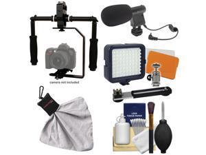 RPS Studio FloPod Digital SLR Camera Video Stabilizer Bracket with LED Video Light & Microphone + Kit