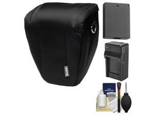 Kodak Deluxe Top-Load DSLR Camera Holster Case (Black) with LP-E10 Battery & Charger + Cleaning Kit for Rebel T3 & T5
