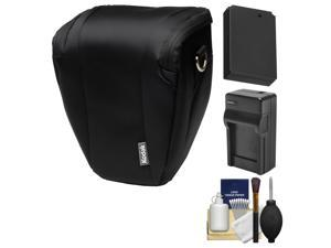 Kodak Deluxe Top-Load DSLR Camera Holster Case (Black) with LP-E12 Battery & Charger + Cleaning Kit for Rebel SL1