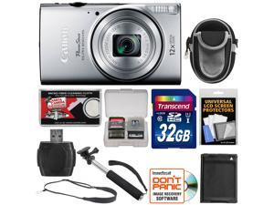 Canon PowerShot Elph 350 HS Wi-Fi Digital Camera (Silver) with 32GB Card + Battery + Case + Selfie Monopod + Sling Strap + Kit