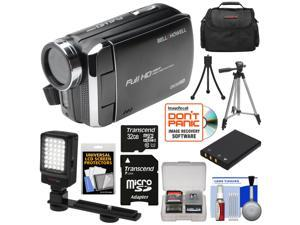 Bell & Howell DV30HD 1080p HD Video Camera Camcorder (Black) with 32GB Card + Battery + Case + Tripods + LED Video Light + Kit