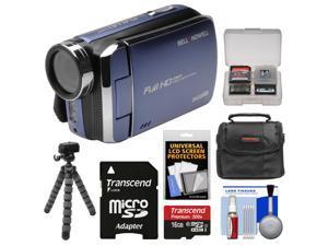 Bell & Howell DV30HD 1080p HD Video Camera Camcorder (Blue) with 16GB Card + Case + Flex Tripod + Kit