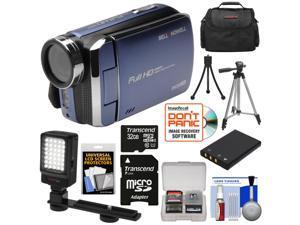 Bell & Howell DV30HD 1080p HD Video Camera Camcorder (Blue) with 32GB Card + Battery + Case + Tripods + LED Video Light + Kit