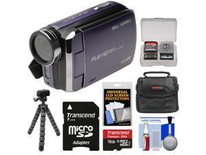 Bell & Howell DV30HD 1080p HD Video Camera Camcorder (Purple) with 16GB Card + Case + Flex Tripod + Kit